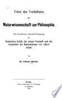 Ueber das Verhältniss der Naturwissenschaft zur Philosophie