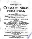 Dissertatio De Cognominibus Principum