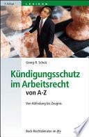 K  ndigungsschutz im Arbeitsrecht von A Z