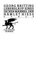 Lebenslauf eines dicken Mannes der Hamlet hiess
