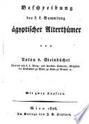 Beschreibung der k k  Sammlung   gyptischer Alterth  mer