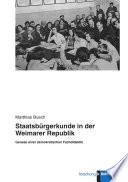Staatsbürgerkunde in der Weimarer Republik