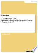 Anforderungen und Systematisierungskriterien elektronischer Zahlungssysteme