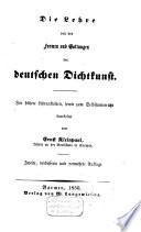 Die Lehre von den Formen und Gattungen der deutschen Dichtkunst
