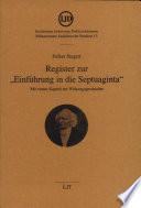 """Register zur """"Einführung in die Septuaginta"""""""
