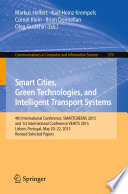 Smart Cities  Green Technologies  and Intelligent Transport Systems