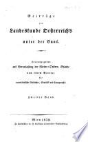 Beiträge zur Landeskunde Oesterreichs unter der Enns