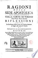 Ragioni della Sede Apostolica nelle presenti controversie colla corte di Torino  Tomo primo   secondo