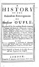 Book A History of the Ridiculous Extravagancies of Monsieur Oufle