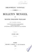 Bulletin Mensuel des Récentes Publications Francaises
