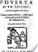 Pouert   d vn giouine  cadutoui per seguitar la sua signora  Canzonetta noua  etc   Nouo dialogo in ottaue siciliane