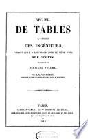 Receuil de tables    l usage des ing  nieurs