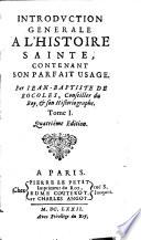 Introduction generale a l'histoire sainte