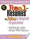 Real resumes for Jobs in Nonprofit Organizations