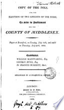 Copy of the poll for the election ... for ... Middlesex. July, 1802