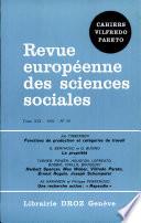 Revue europ  enne des Sciences sociales et Cahiers Vilfredo Pareto