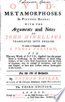 Ovid's Metamorphoses in Fifteen Books