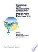 Proceedings Of The 9th International Symposium On Insect Plant Relationships book