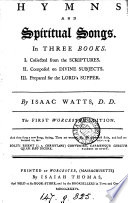Hymns and spiritual songs  1st Worcester ed