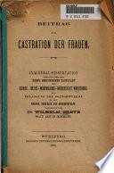 Beitrag zur Castration der Frauen