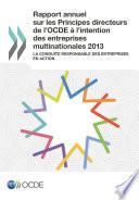 Rapport annuel sur les Principes directeurs de l OCDE    l intention des entreprises multinationales 2013 La conduite responsable des entreprises en action