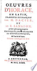 Tome Cinquieme  Contenant le Livre I  des Satires d Horace    les 2 premieres Satires du Livre II