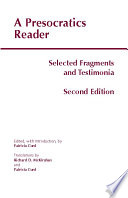 A Presocratics Reader  Second Edition