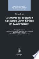 Geschichte der deutschen Hals-Nasen-Ohren-Kliniken im 20. Jahrhundert