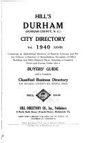Hill s Durham  Durham County  N C   City Directory