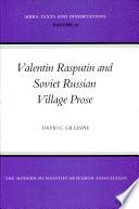 Valentin Rasputin and Soviet Russian Village Prose