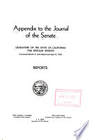 Appendix To The Journal Of The Senate