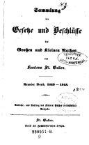 Sammlung der Gesetze und Beschlüsse des Großen und Kleinen Raths des Kantons St. Gallen