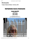 Wonderpedia of NeoPopRealism Journal, Today's Featured Articles, 2010-2013