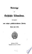 Beiträge zur Geschichte Nidwaldens