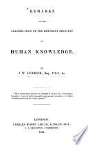 Remarks on the Classification of the Different Branches of Human Knowledge