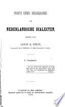 Proeve eener Bibliographie der nederlandsche Dialecten