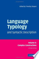 Language Typology and Syntactic Description  Volume 2  Complex Constructions