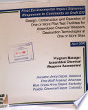 Design  Construction and Operation of One Or More Pilot Test Facilities for Assembled Chemical Weapons Destruction Technologies at One Or More Sites  AL  AK  CO  KY