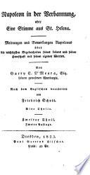 Napoleon in der Verbannung oder eine Stimme aus St  Helena