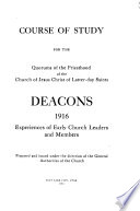 Course of Study for the Quorums of Priesthood of the Church of Jesus Christ of Latter-day Saints ...