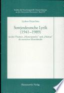 Sowjetdeutsche Lyrik (1941-1989)