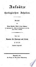 Aufsätze theologischen Inhalts