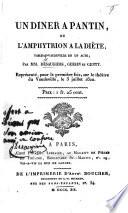 Un D  ner    Pantin  ou l Amphytrion    la di  te  tableau vaudeville en un acte  par D  saugiers  Gersin et Genty  etc