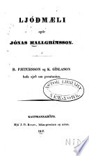 Ljóðmæli eptir Jónas Hallgrímsson