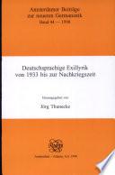 Deutschsprachige Exillyrik von 1933 bis zur Nachkriegszeit