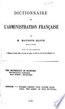 Dictionnaire de l administration fran  aise