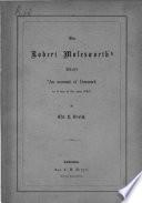 "Om Robert Molesworth's skrift ""An account of Denmark as it was in the year 1692."""