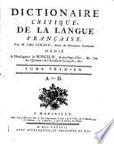 Dictionnaire critique da la langue française