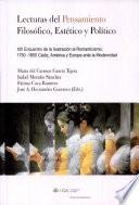 Lecturas del pensamiento filosófico, estético y político