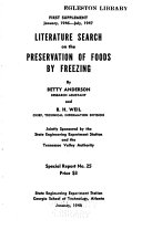Literature Search on the Preservation of Foods by Freezing